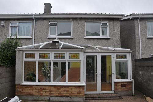 L Shaped conservatory before a Guardian Tiled Effect roof