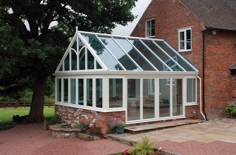 special gable design upvc white conservatory