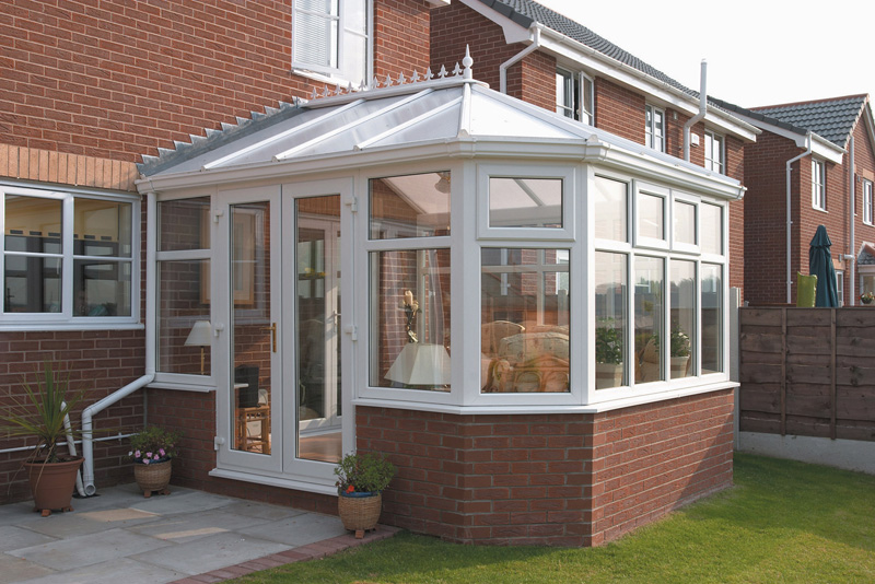 Victorian wide fronted upvc conservatory